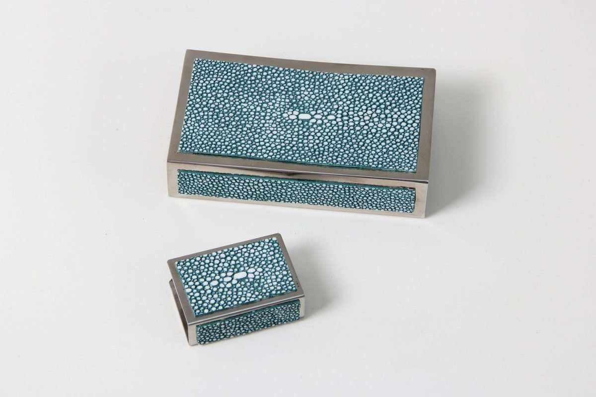 Matchbox Holders in Teal Shagreen by Forwood Design 1
