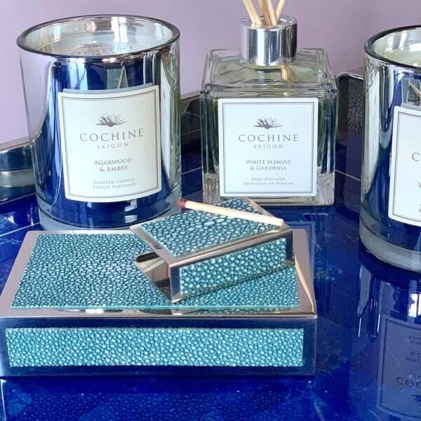 Matchbox Holders in Teal Shagreen by Forwood Design 11
