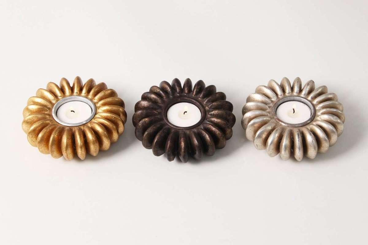 Sandbox Tree Seed tea light holders in antique metals 2