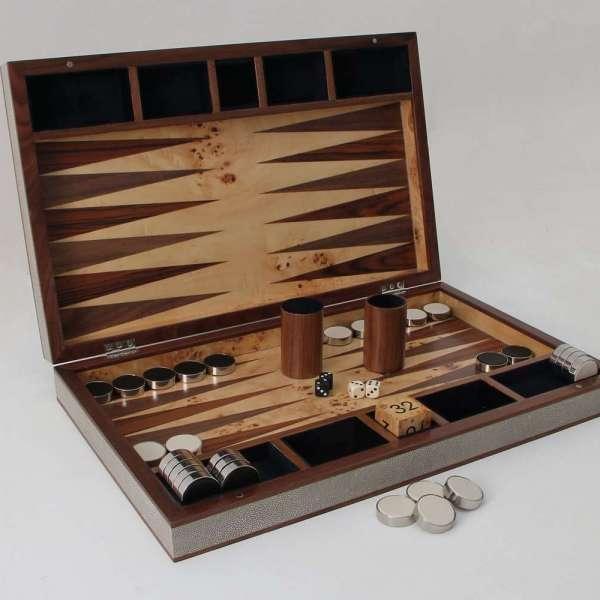 Modern backgammon board in barley shagreen