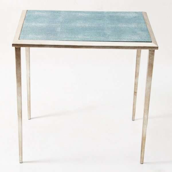 The Ellie Shagreen Side Table in teal shagreen 5
