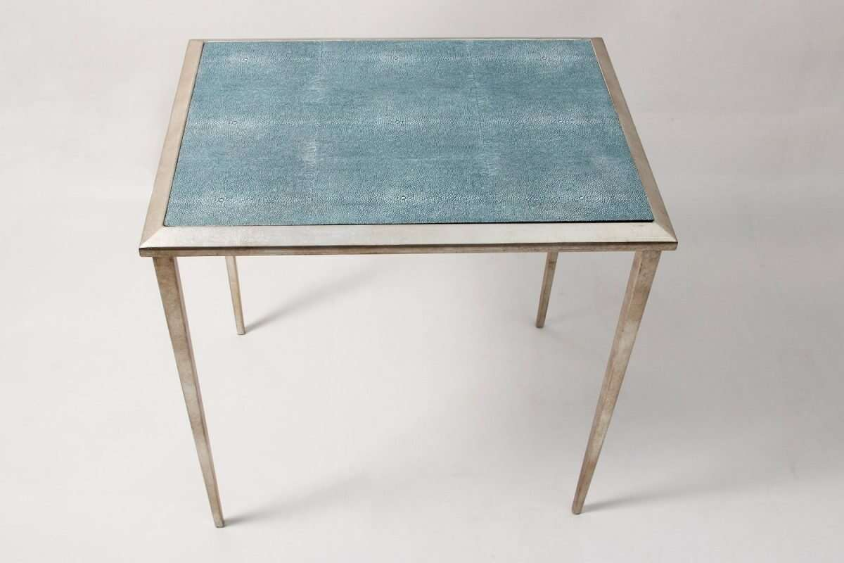 The Ellie Shagreen Side Table in teal shagreen 2