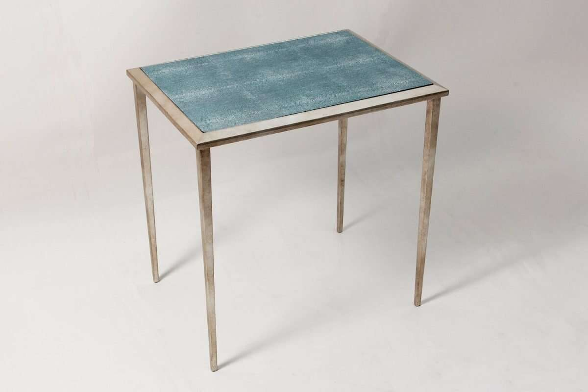 The Ellie Shagreen Side Table in teal shagreen 1