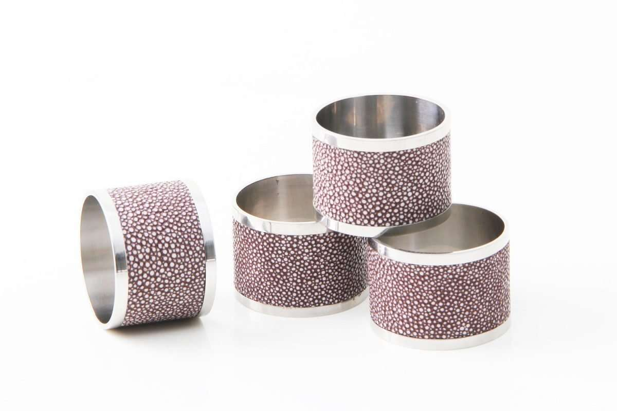 Napkin Rings in Mulberry Shagreen by Forwood Design 5