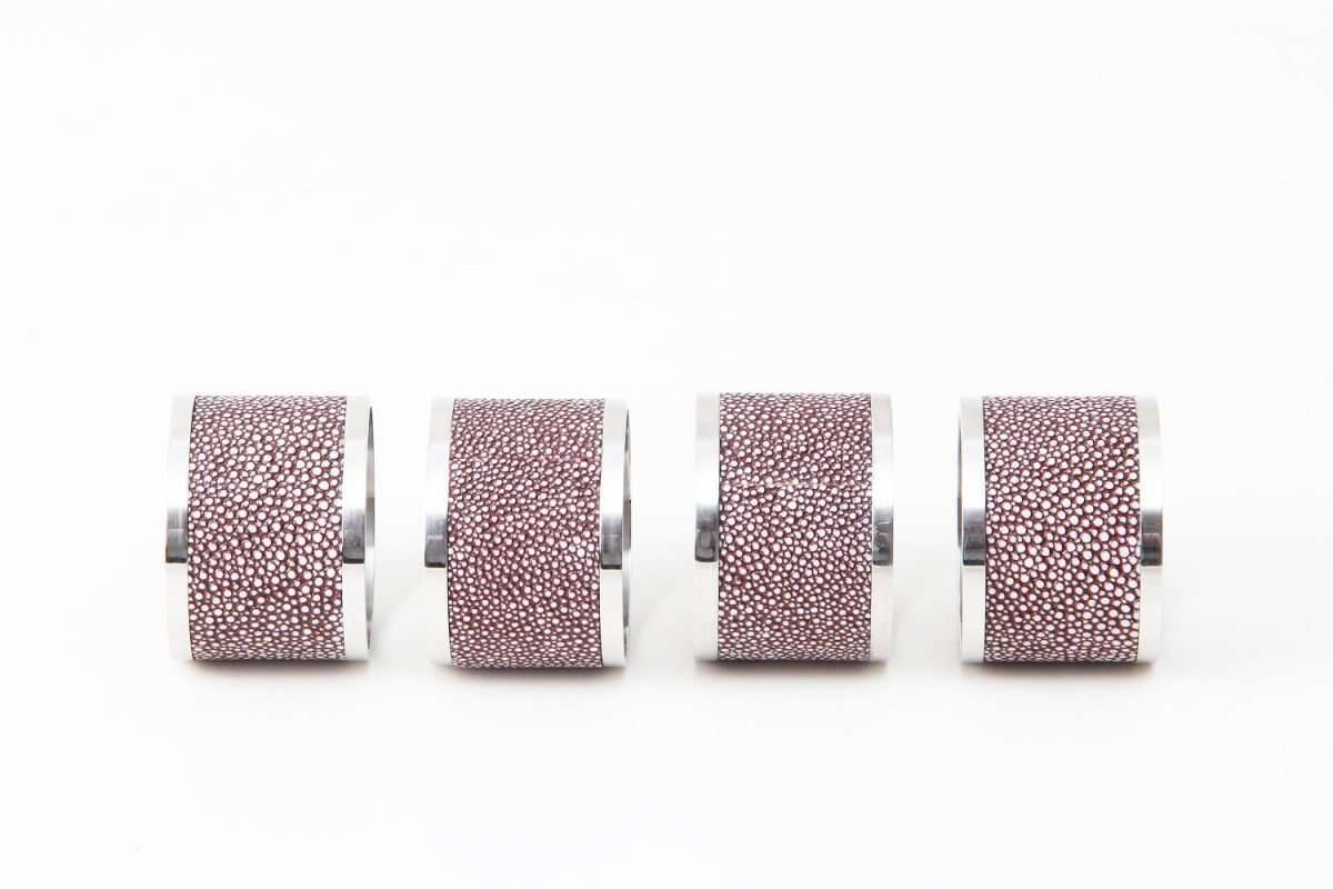 Napkin Rings in Mulberry Shagreen by Forwood Design 3