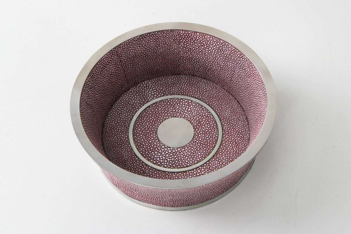 Wine Bottle Coaster in Mulberry Shagreen by Forwood Design 1