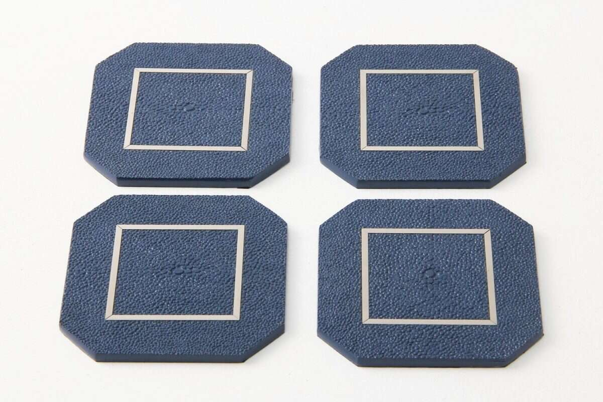 Nile Blue Drinks Coasters in Shagreen by Forwood Design 4