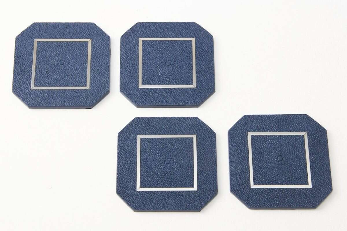 Nile Blue Drinks Coasters in Shagreen by Forwood Design 3