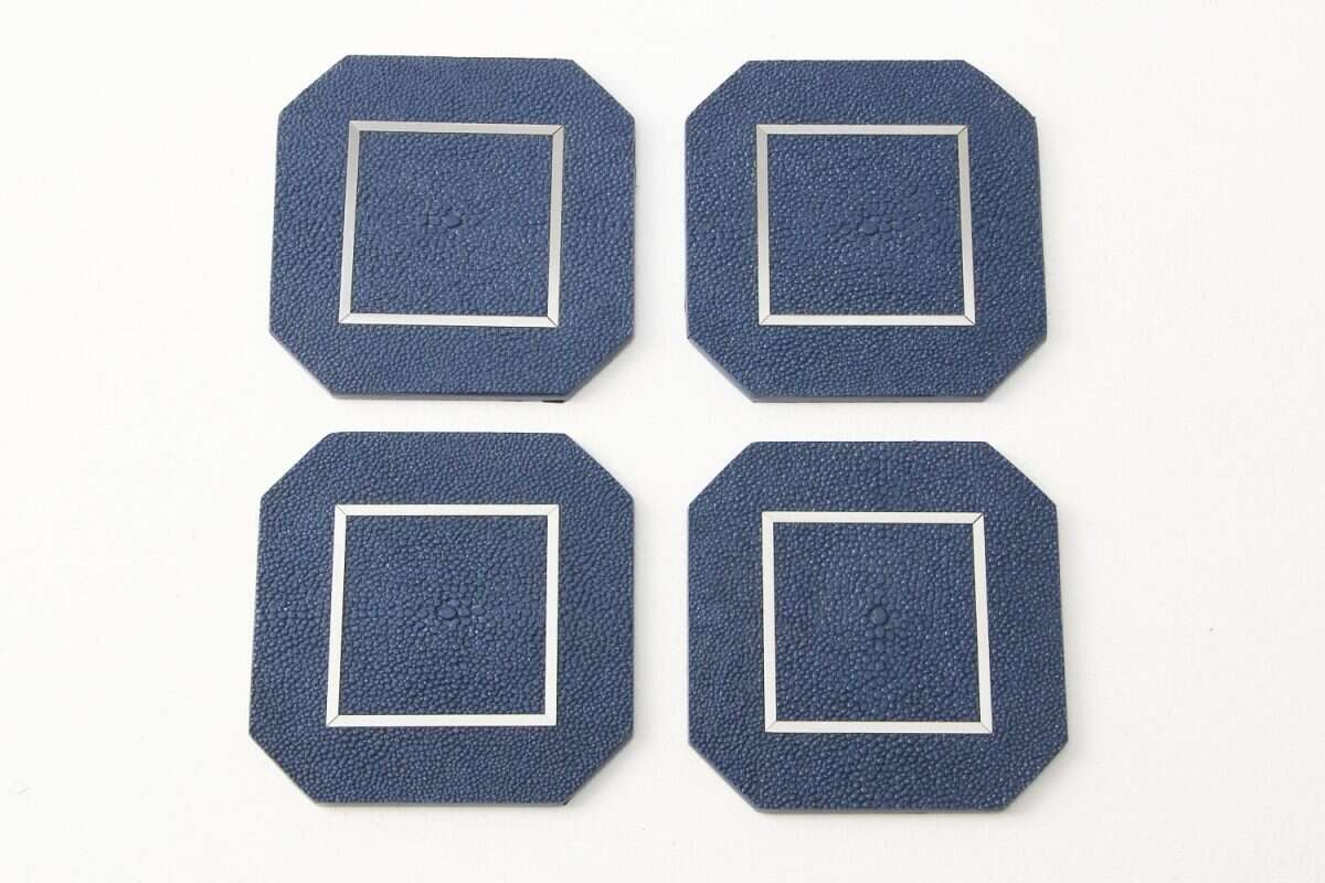 Nile Blue Drinks Coasters in Shagreen by Forwood Design 2