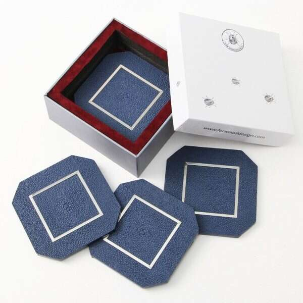 Nile Blue Drinks Coasters in Shagreen by Forwood Design 1