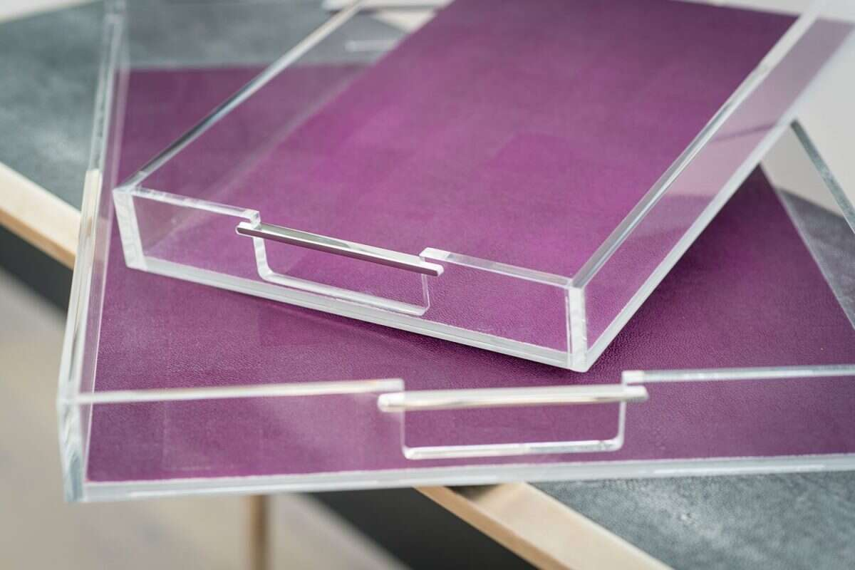 Acrylic Tray in Plum Shagreen by Forwood Design 1