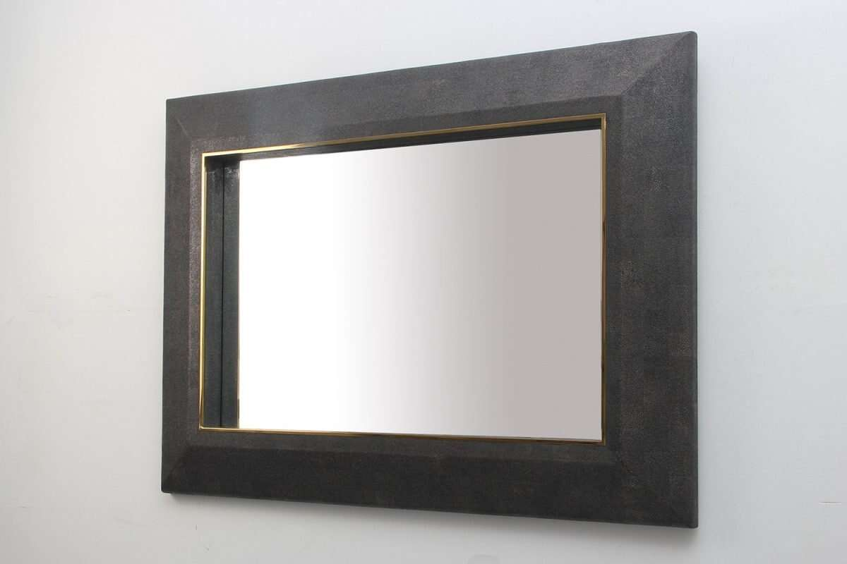 Henry Mirror in Seal Brown Shagreen by Forwood Design 6