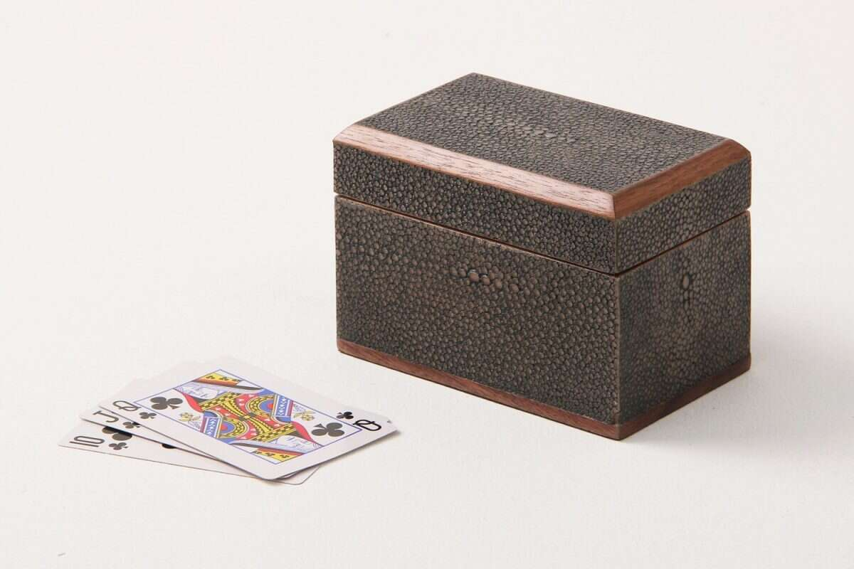 Playing Card Box in Seal Brown Shagreen by Forwood Design 5