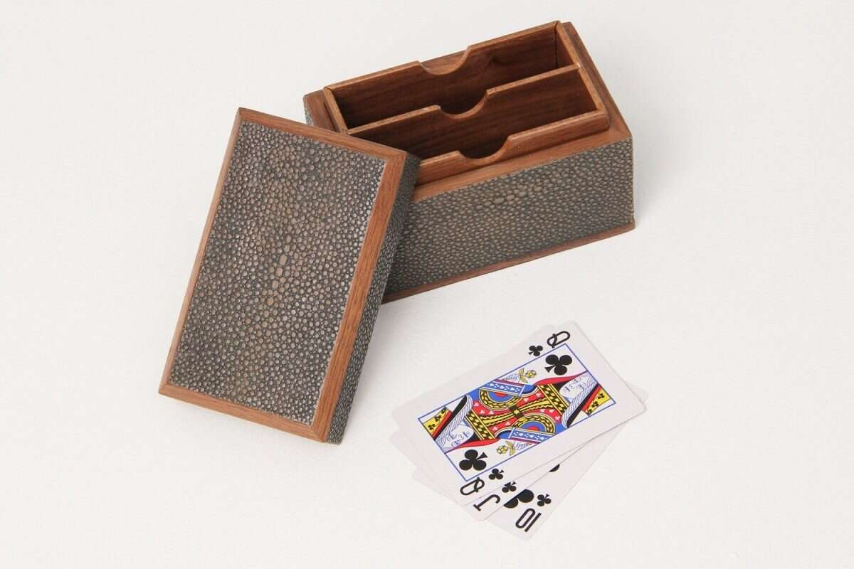 Playing Card Box in Seal Brown Shagreen by Forwood Design 2