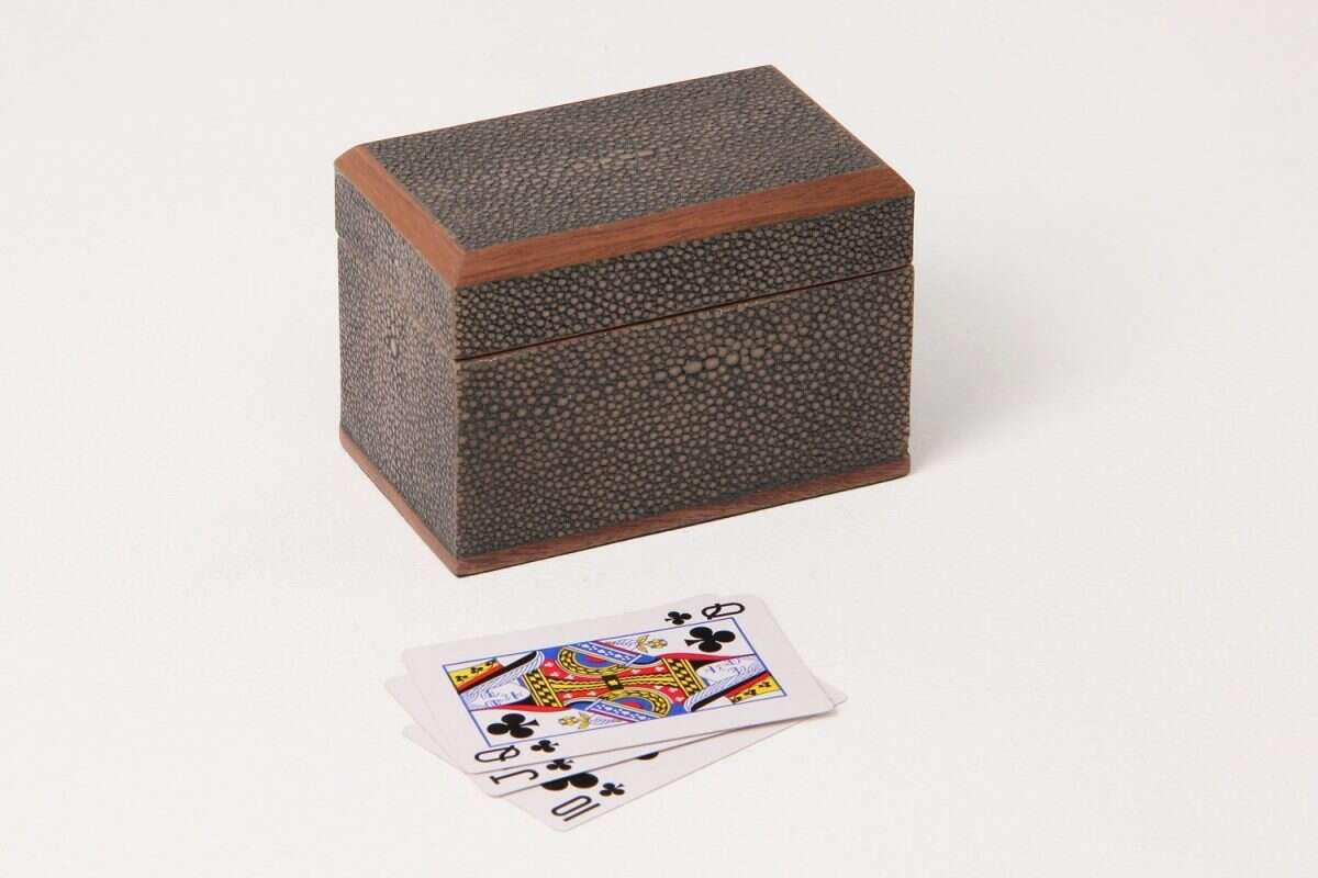Playing Card Box in Seal Brown Shagreen by Forwood Design 1