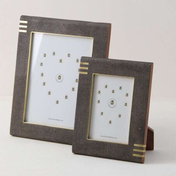 Holmes Photo Frame in Seal Brown Shagreen by Forwood Desi5gn
