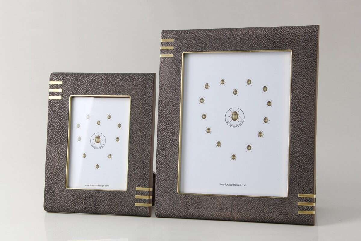 Holmes Photo Frame in Seal Brown Shagreen by Forwood Design 4