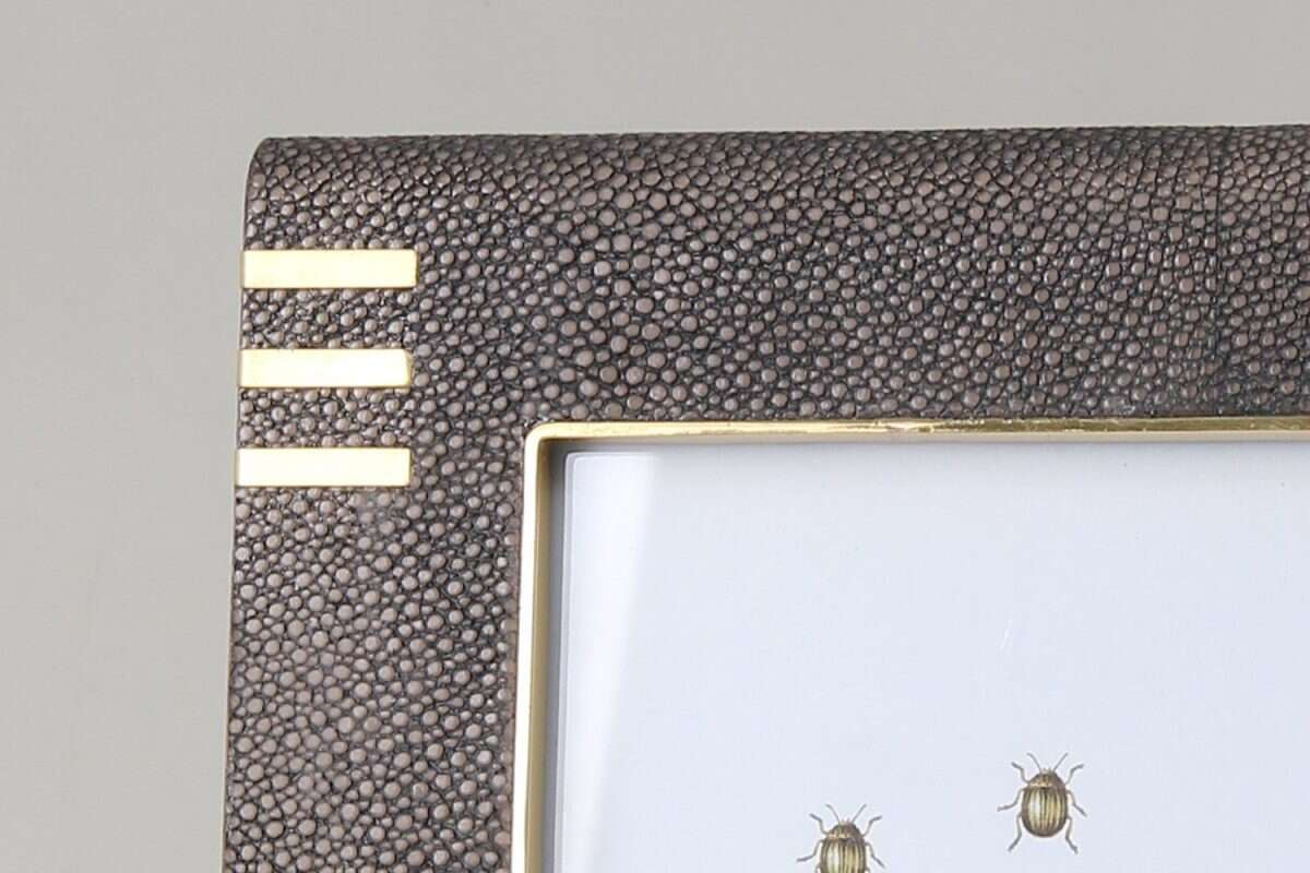 Holmes Photo Frame in Seal Brown Shagreen by Forwood Design 3