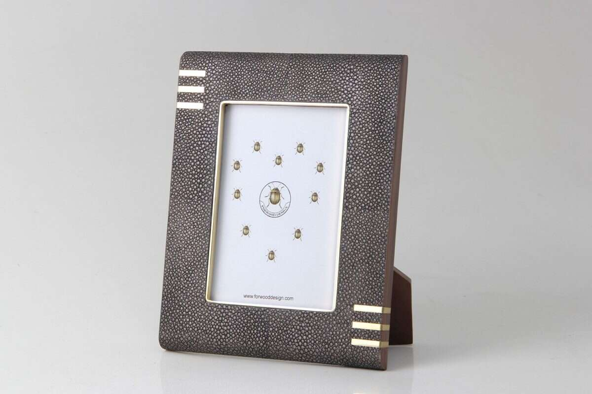 Holmes Photo Frame in Seal Brown Shagreen by Forwood Design 1