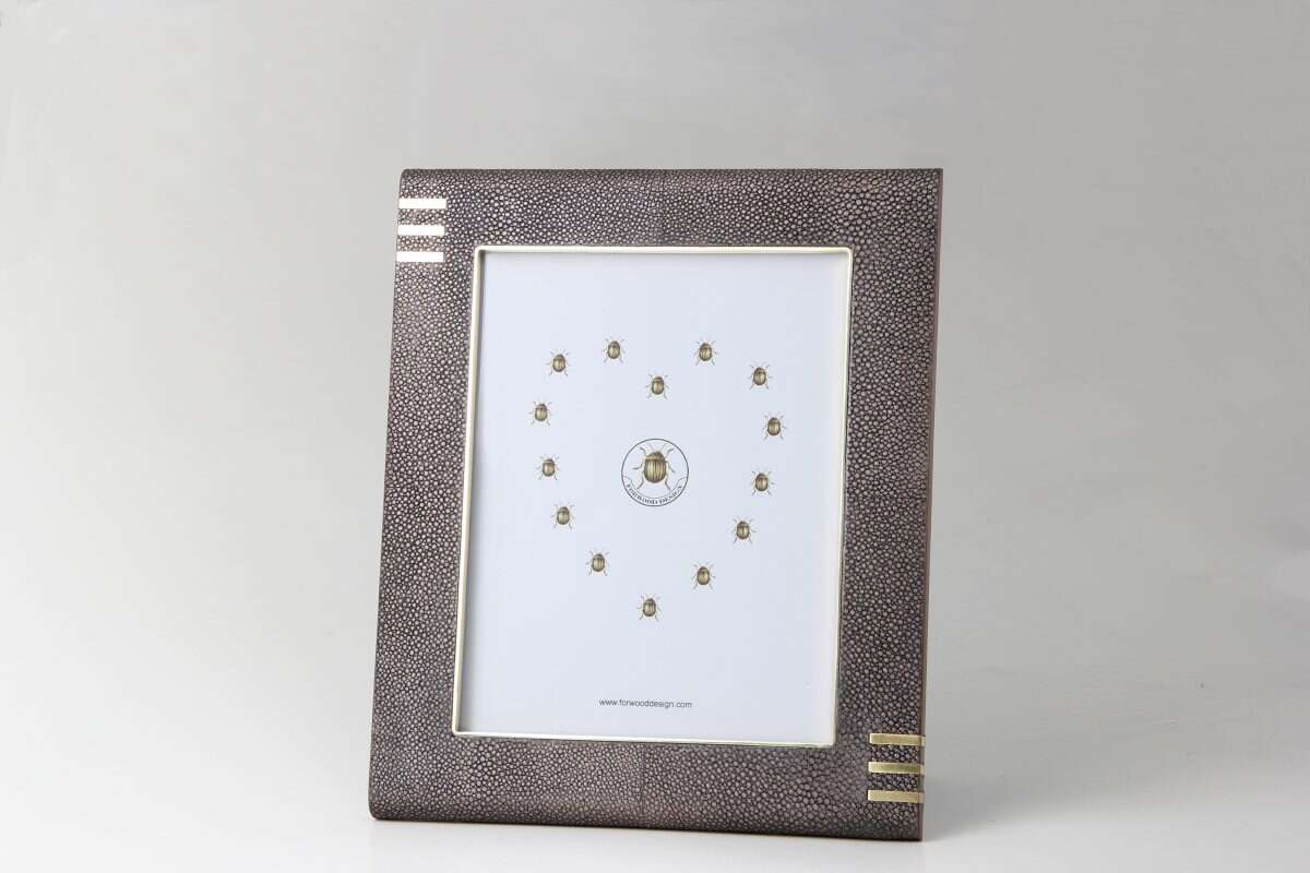 Holmes Photo Frame in Seal Brown Shagreen by Forwood Design 2