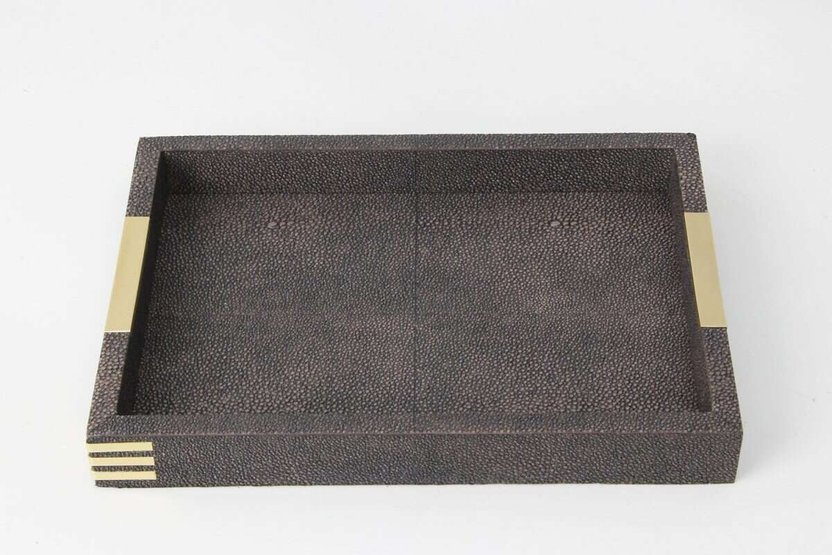 Holmes Desk Tray in Seal Brown Shagreen by Forwood Design 5