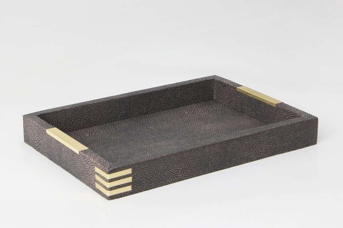 Holmes Desk Tray in Seal Brown Shagreen by Forwood Design 4