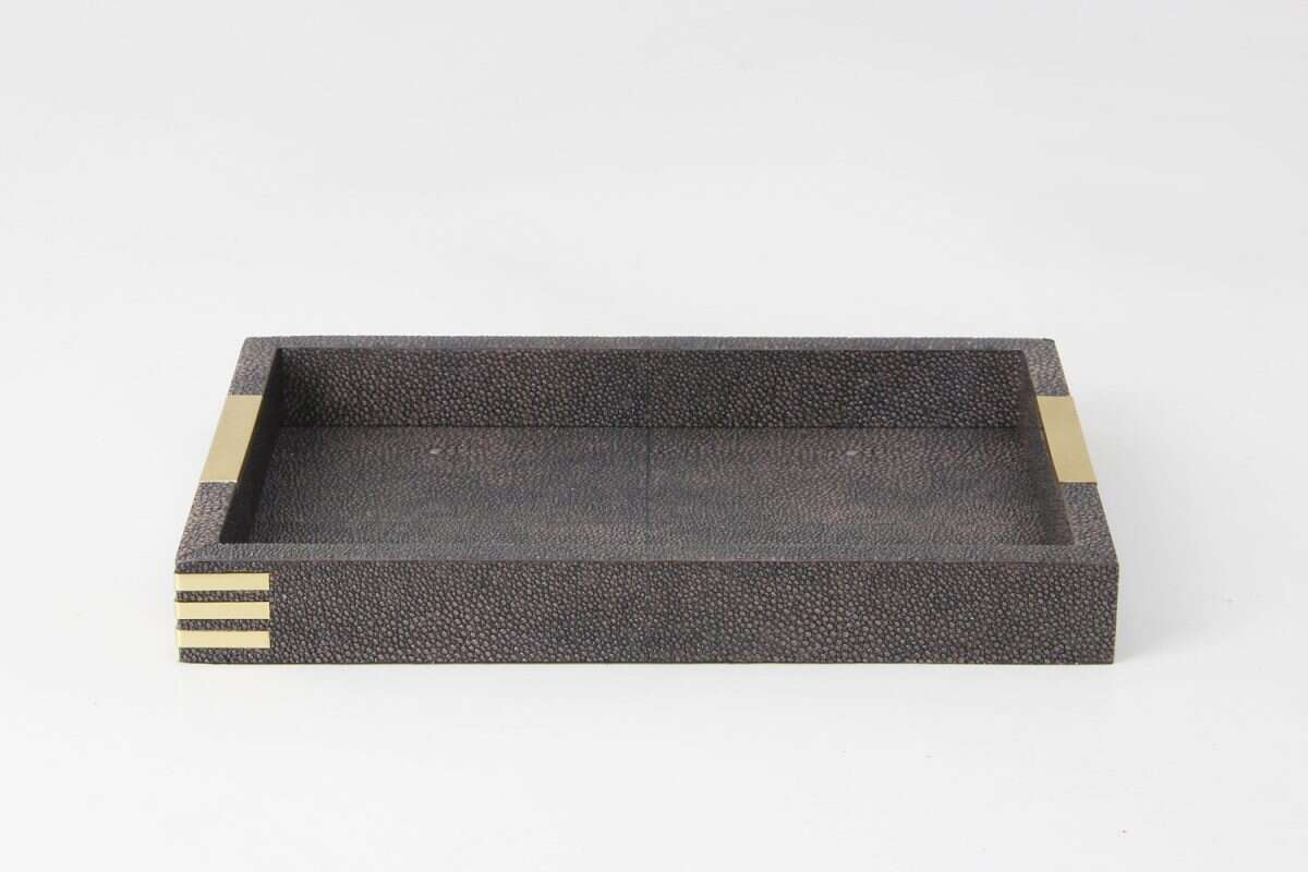 Holmes Desk Tray in Seal Brown Shagreen by Forwood Design 2