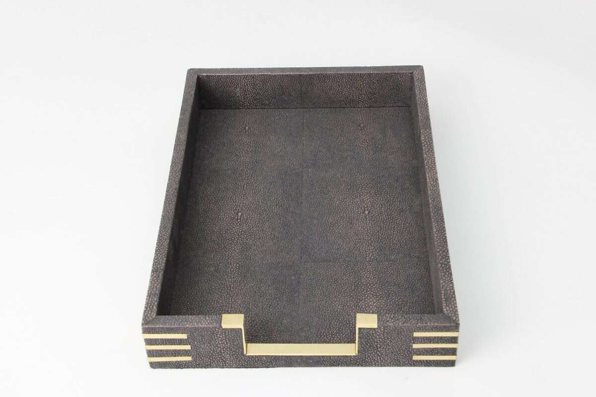 Holmes In-Tray in seal brown shagreen by Forwood Design 5