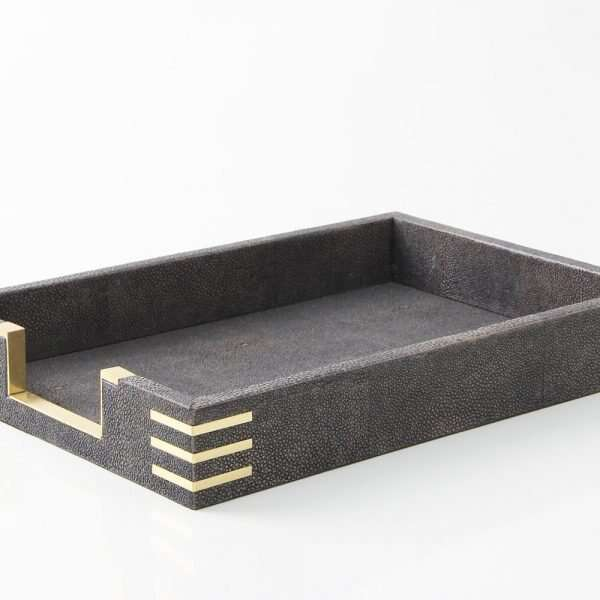 Holmes In-Tray in seal brown shagreen by Forwood Design 4