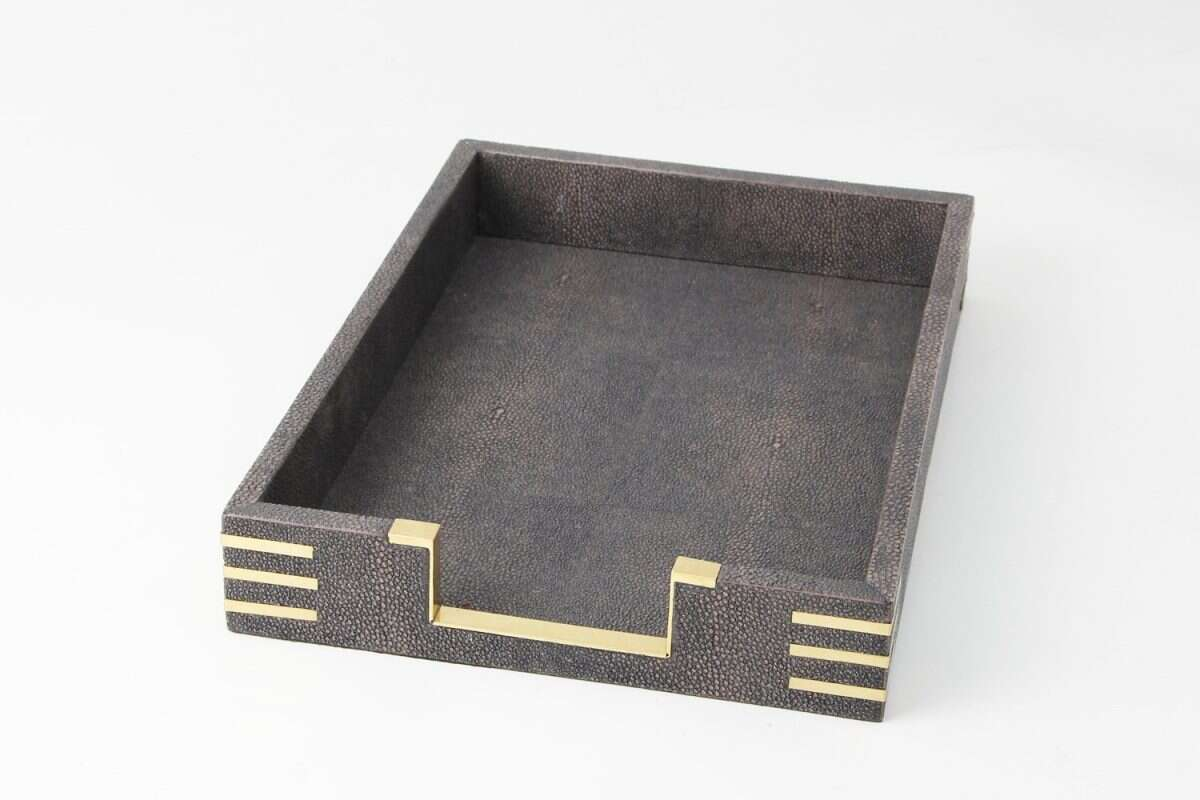 Holmes In-Tray in seal brown shagreen by Forwood Design 2