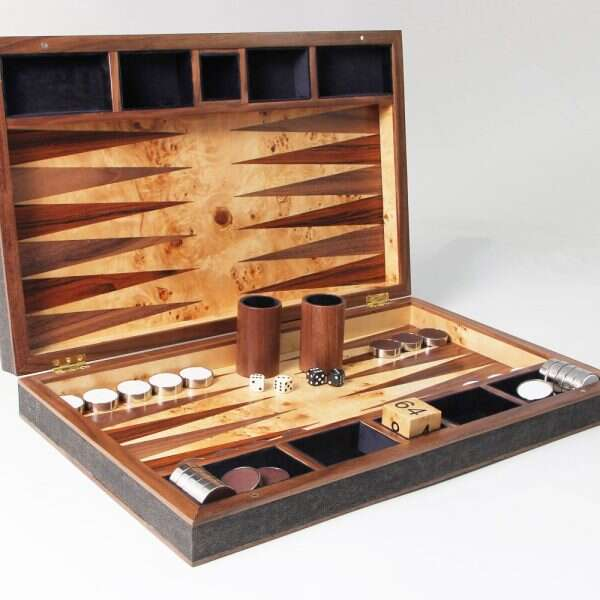 Backgammon Board in Seal Brown Shagreen and walnut 3