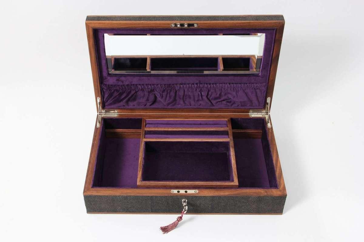 Avalon Jewellery Box in Seal Brown Shagreen2