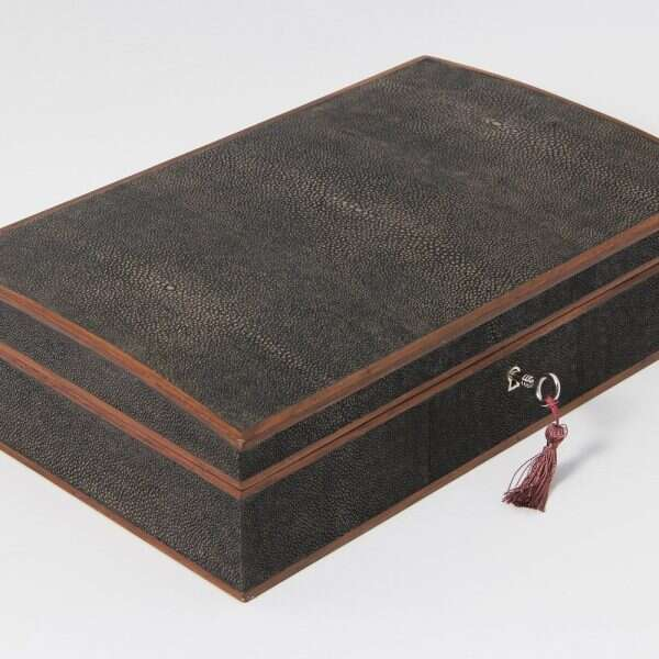 Avalon Jewellery Box in Seal Brown Shagreen 5