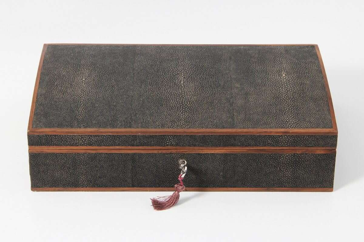 Avalon Jewellery Box in Seal Brown Shagreen4