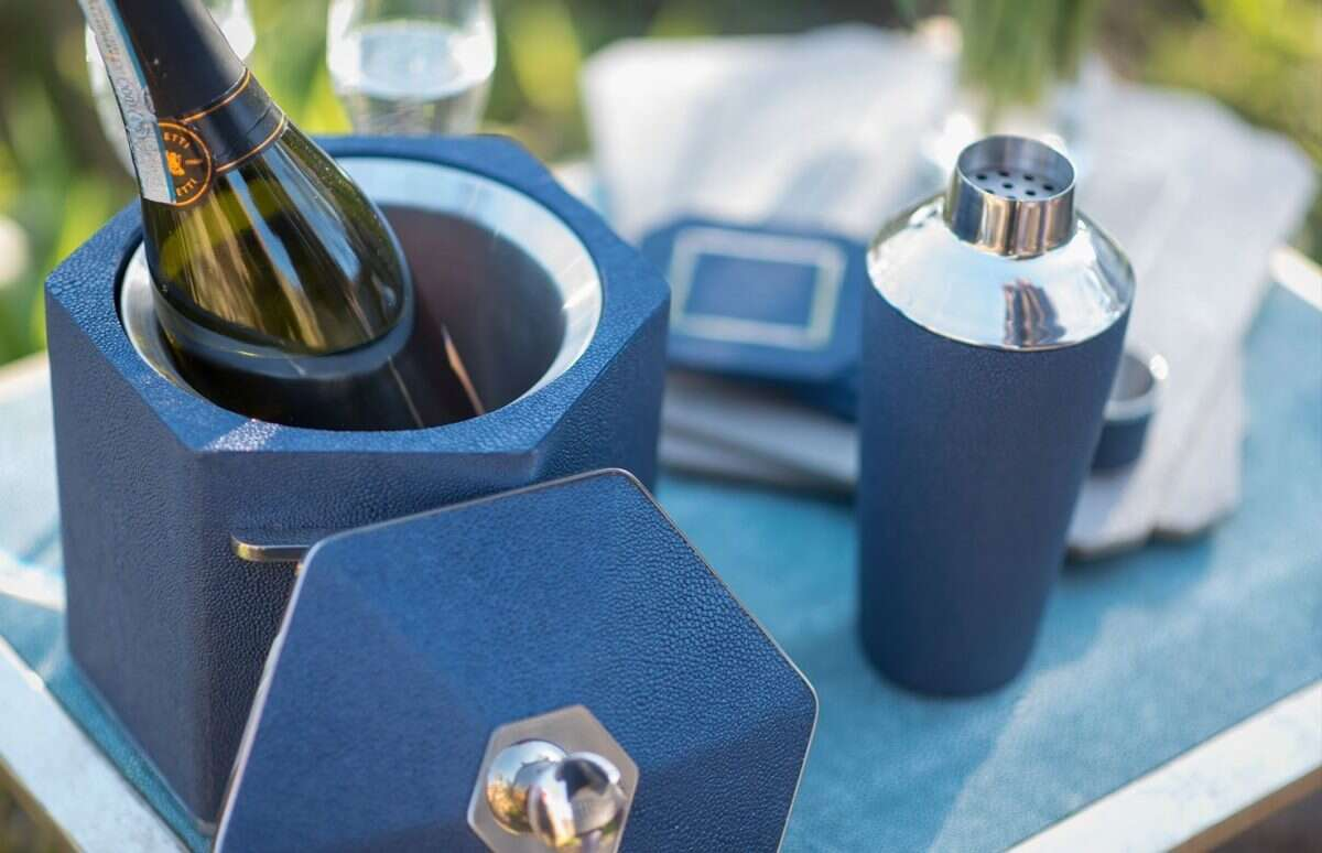 Otis Ice Bucket in Nile Blue Shagreen by Forwood Design 5
