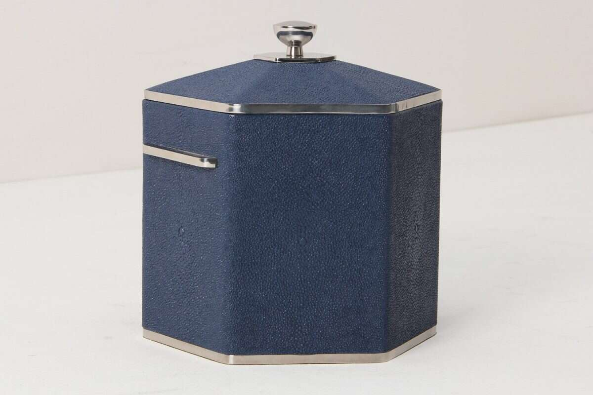 Otis Ice Bucket in Nile Blue Shagreen by Forwood Design 4