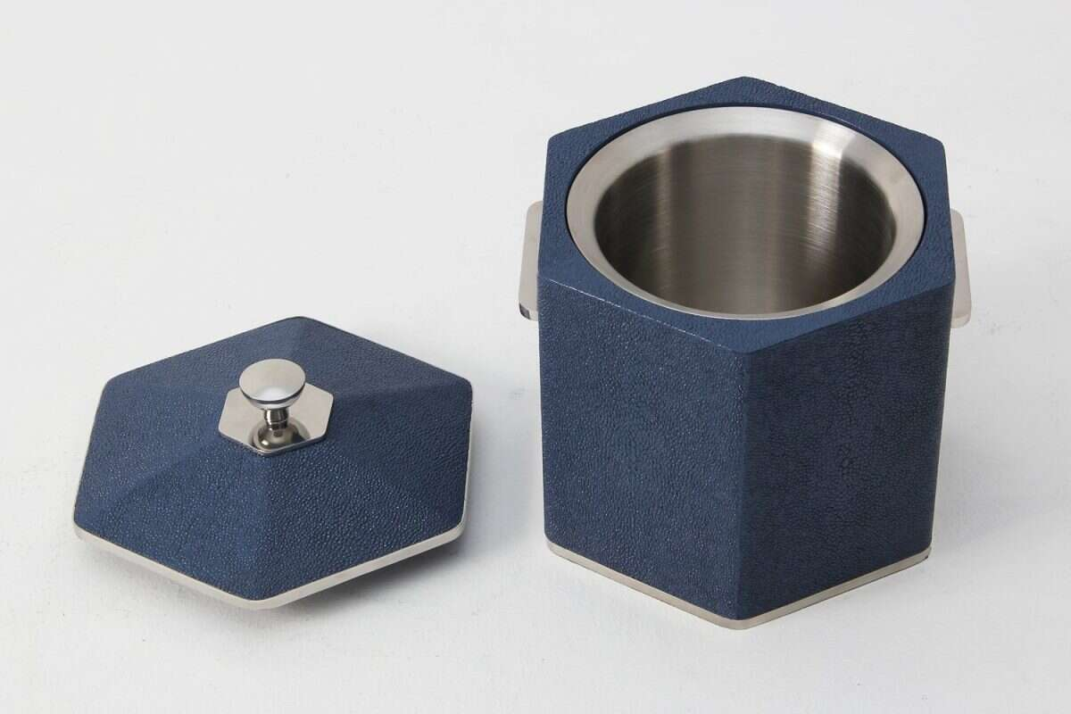 Otis Ice Bucket in Nile Blue Shagreen by Forwood Design 3