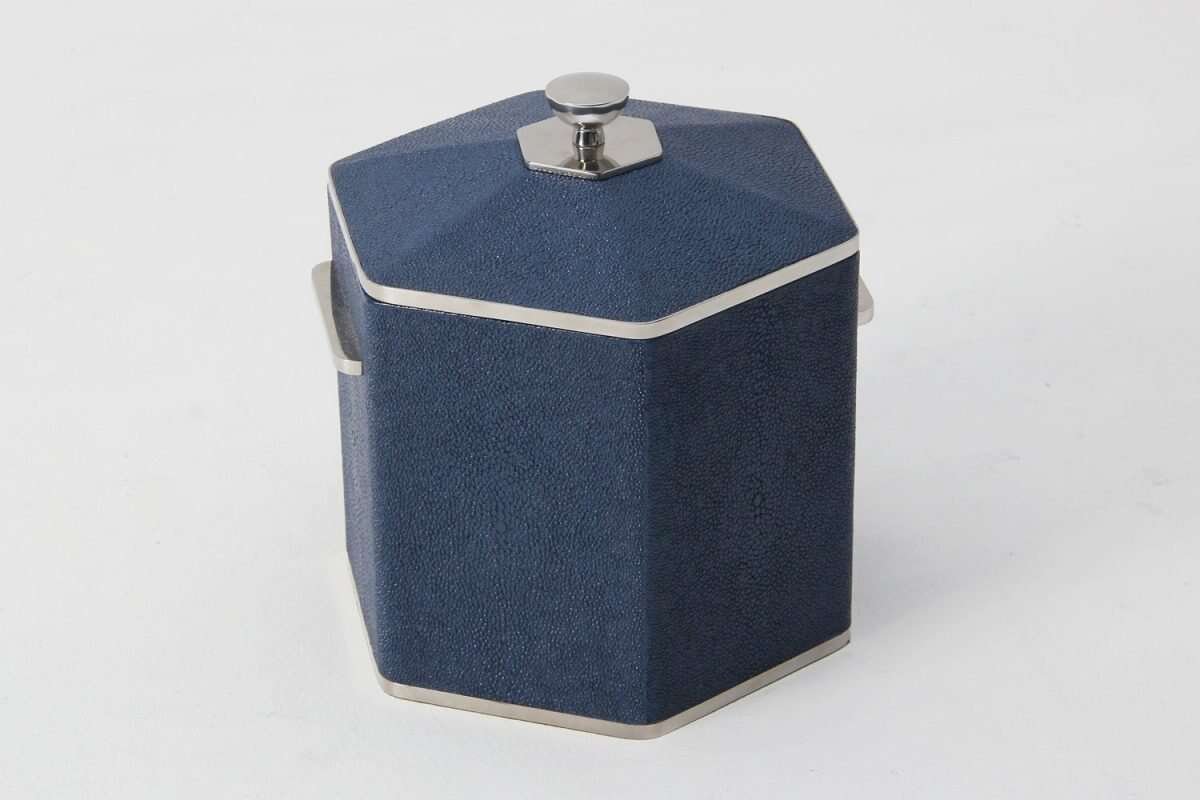 Otis Ice Bucket in Nile Blue Shagreen by Forwood Design 2