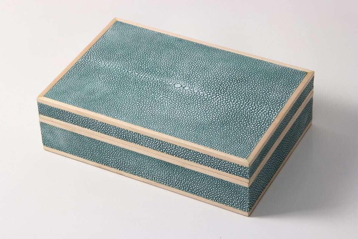 Jewellery Treasure Box in Teal Shagreen by Forwood Design 4