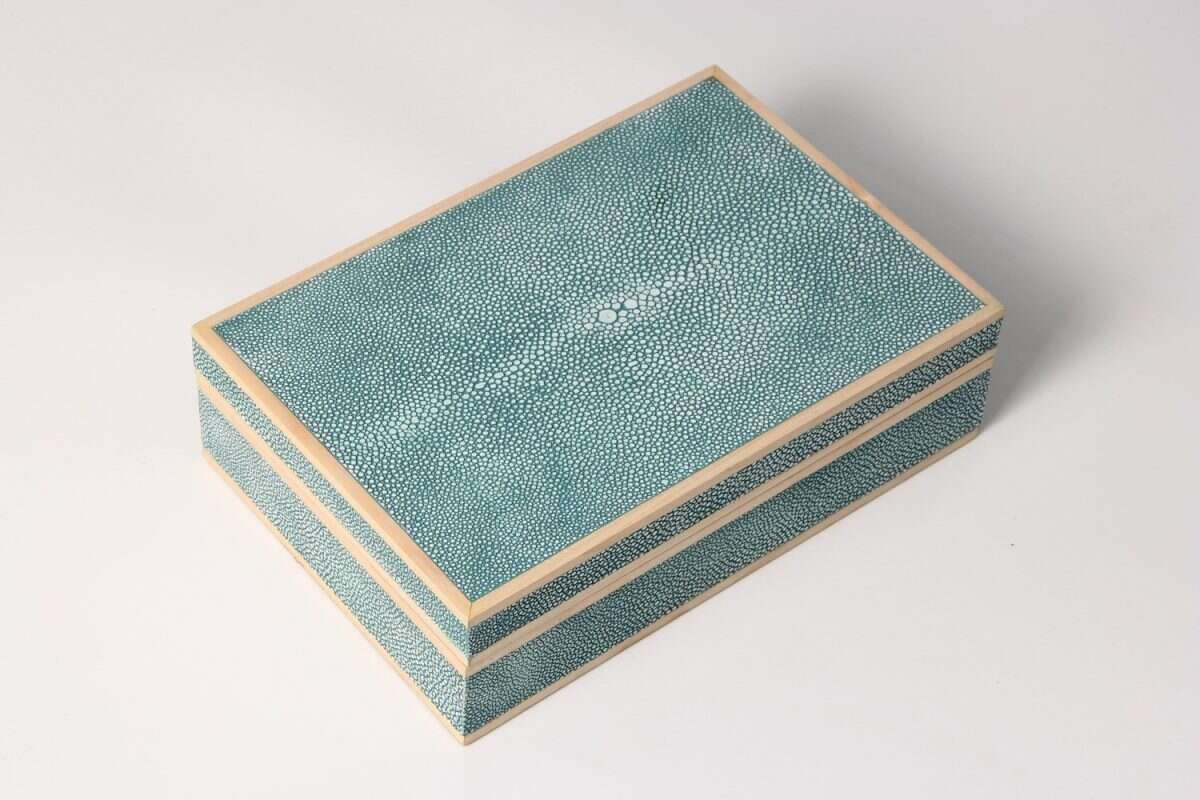 Jewellery Treasure Box in Teal Shagreen by Forwood Design 3