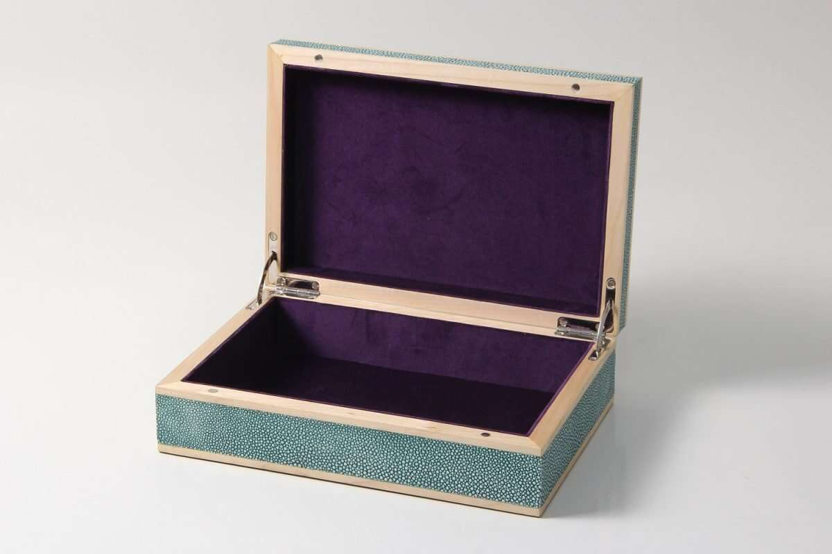 Jewellery Treasure Box in Teal Shagreen by Forwood Design 2
