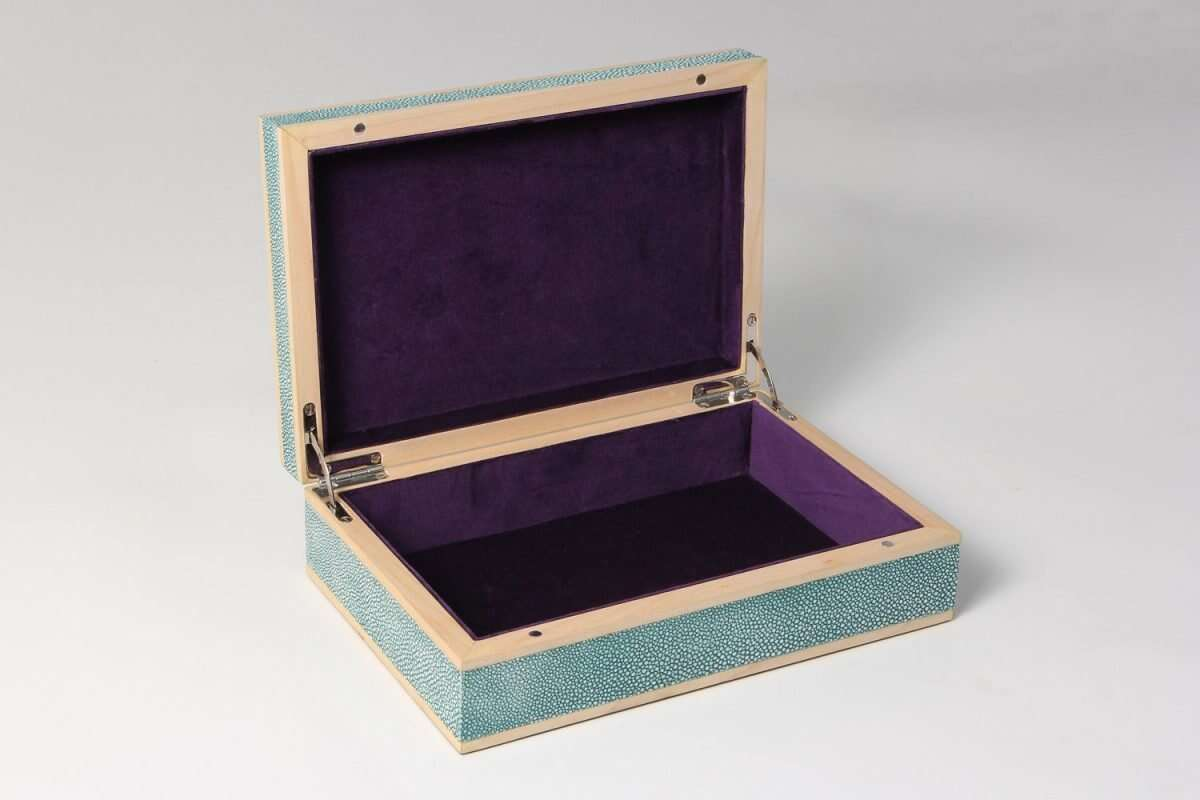 Jewellery Treasure Box in Teal Shagreen by Forwood Design 1