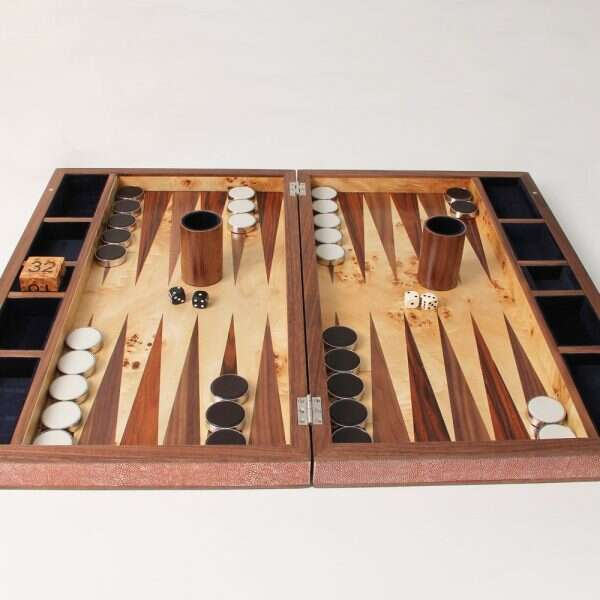 Backgammon Board in Coral Shagreen 1