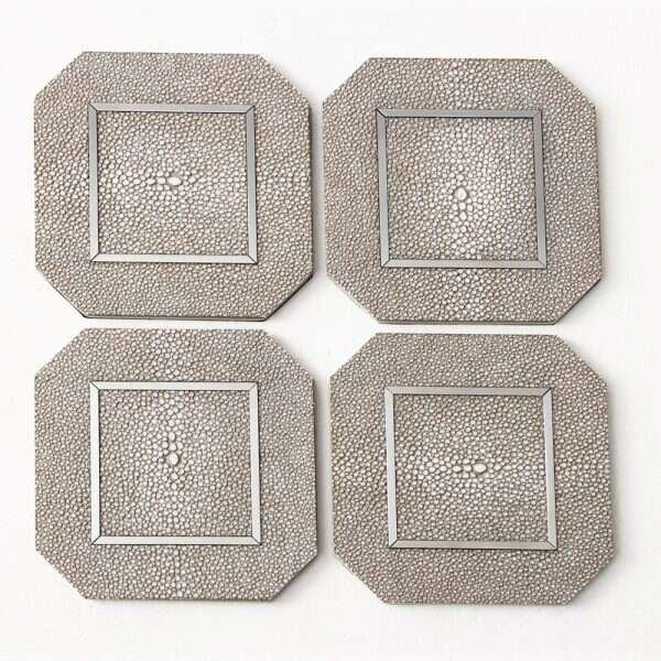 Otis Drinks Coasters in Barley Shagreen by Forwood Design 5