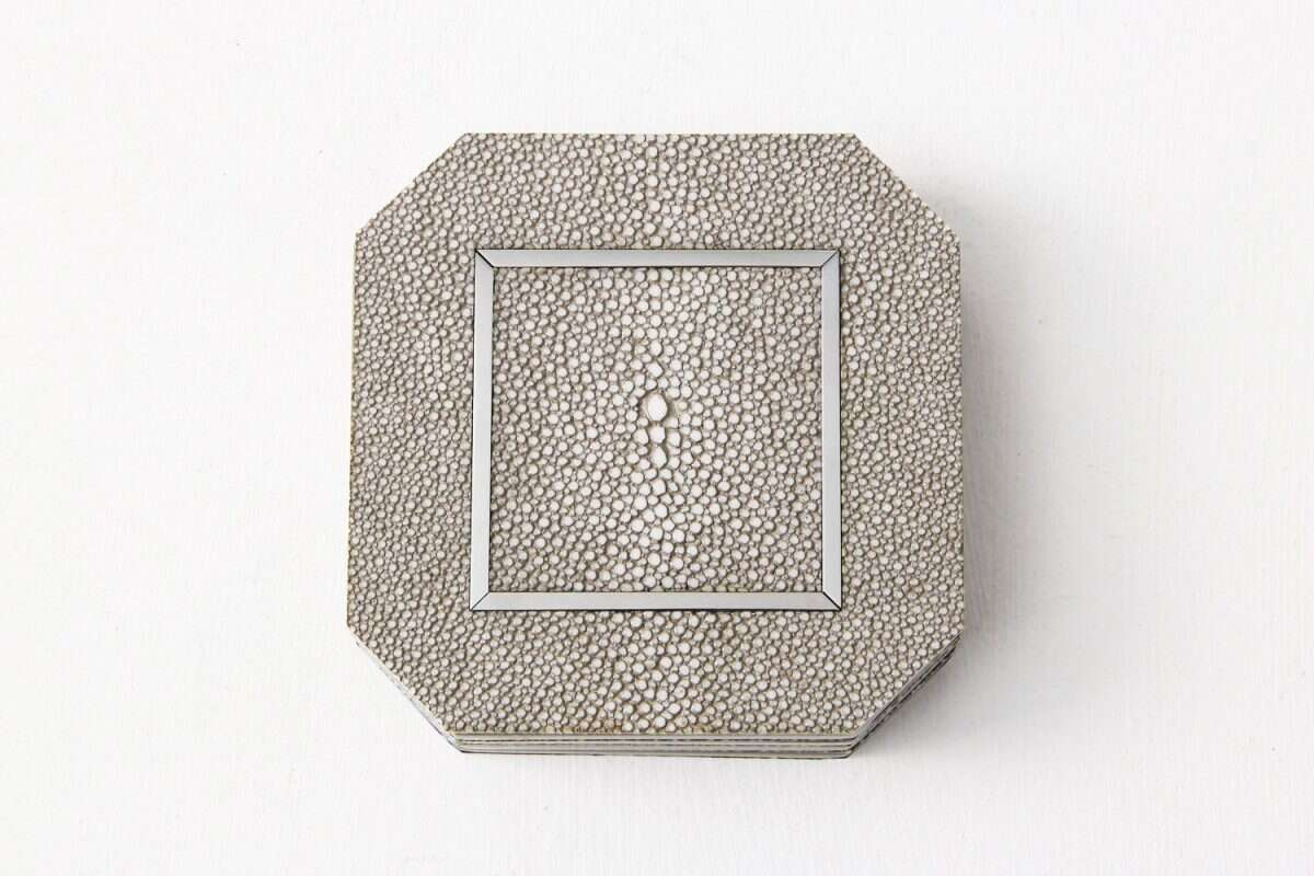 Otis Drinks Coasters in Barley Shagreen by Forwood Design 3