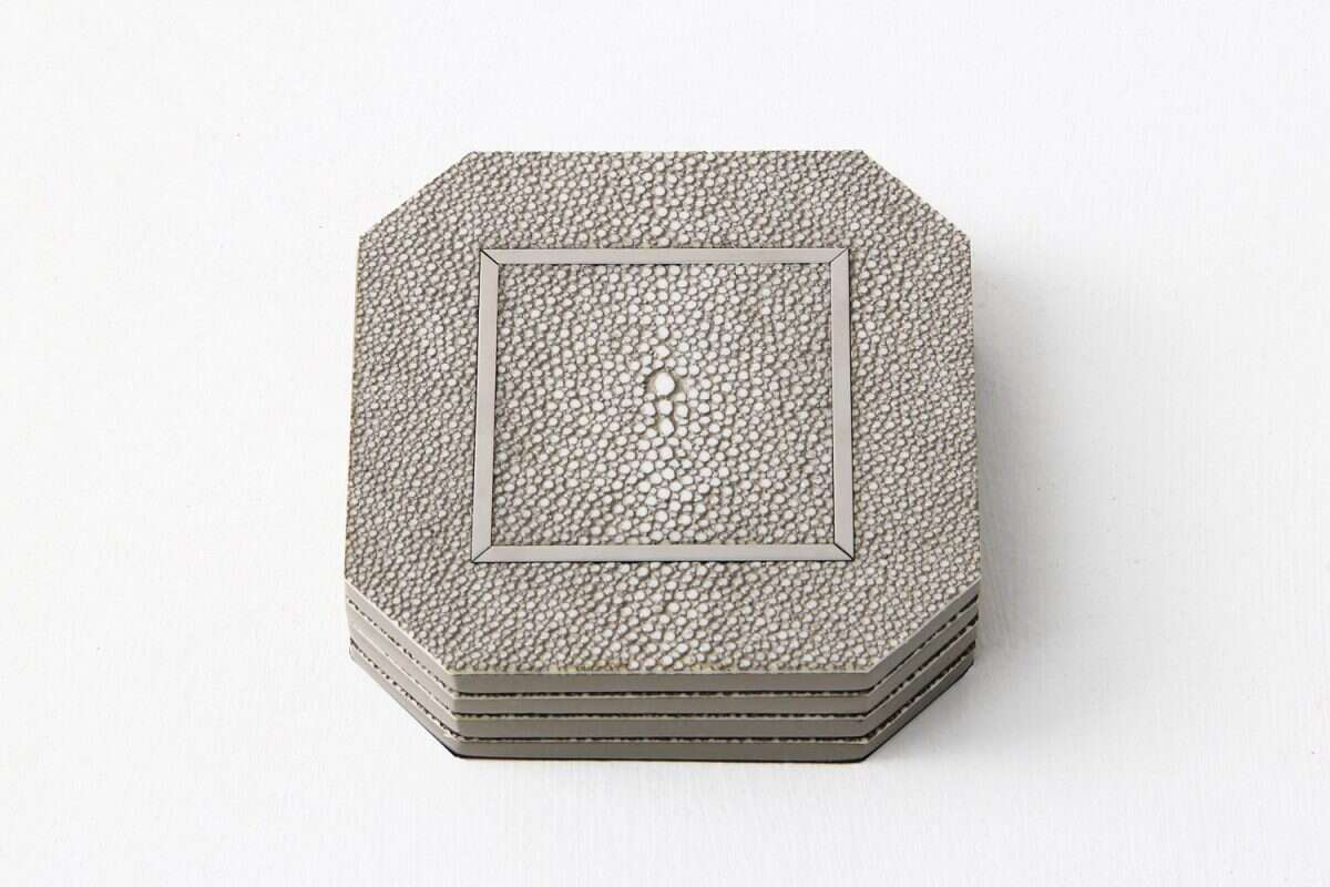 Otis Drinks Coasters in Barley Shagreen by Forwood Design 2
