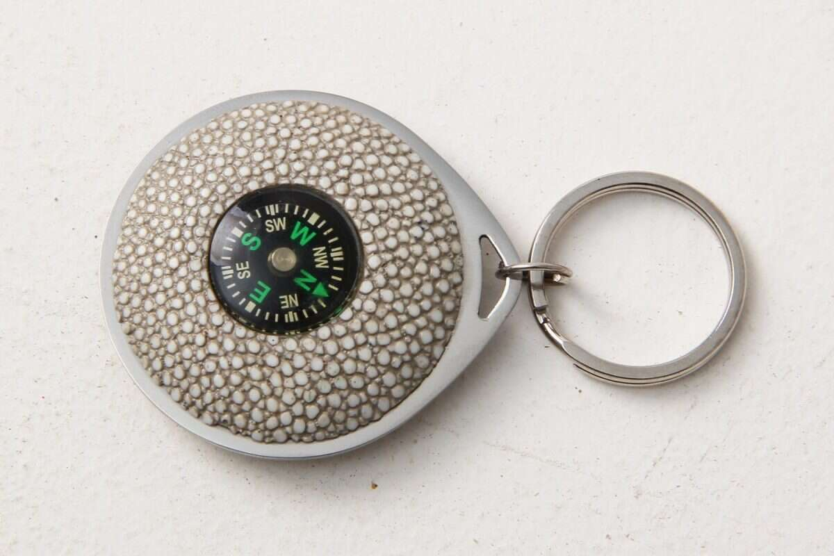 Compass Key Fob in Shagreen by Forwood Design 4