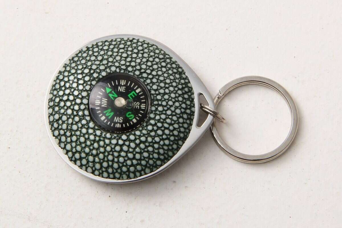 Compass Key Fob in Shagreen by Forwood Design 3