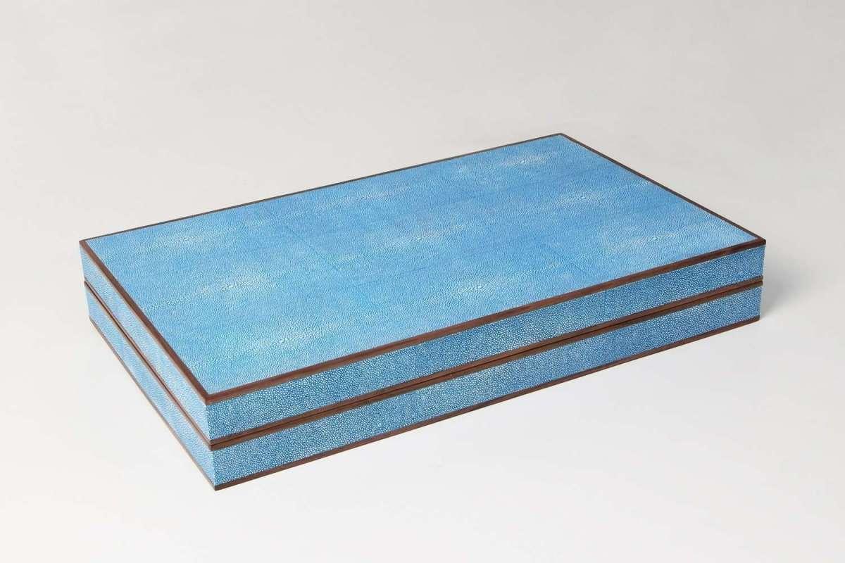 Backgammon Board in Duke Blue Shagreen by Forwood Design 4