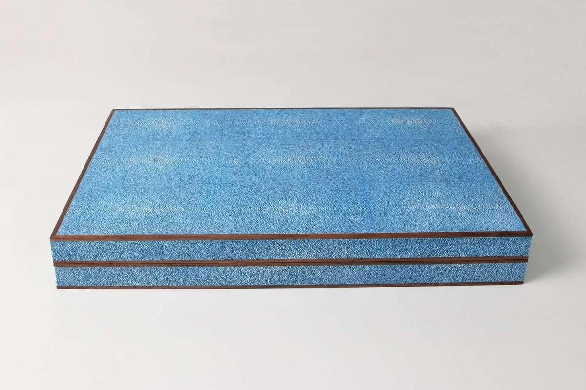 Backgammon Board in Duke Blue Shagreen by Forwood Design 3